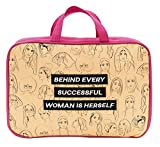 Behind Successful Woman Herself 7.5 x 11 Inch Polyester Makeup Bag with Handles