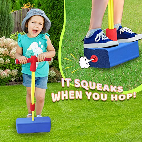 Motiloo Blue Foam Pogo Jumper,Foam Pogo Jumper for Kids,Pogo Stick with Sound Foam Bungee Jumper for Kids
