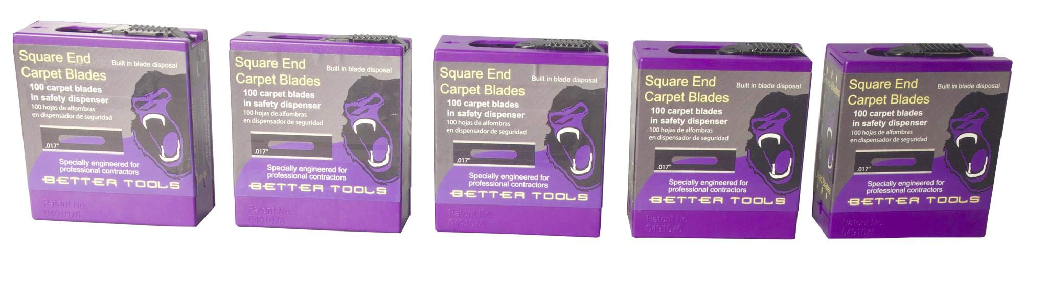 Carpet Blades - Square ends 100 blades dispensers Better Tools 20201N (5) by Better Tools