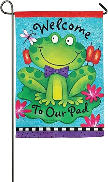 Destiny S Flag Personalized Garden Flag Welcome To Our Pad Frog Flag 12 5 X 18 Inches Garden Outdoor