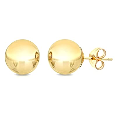 bebaeba93 Amazon.com: 14K Yellow Gold Ball Stud Earrings, 10mm: Jewelry