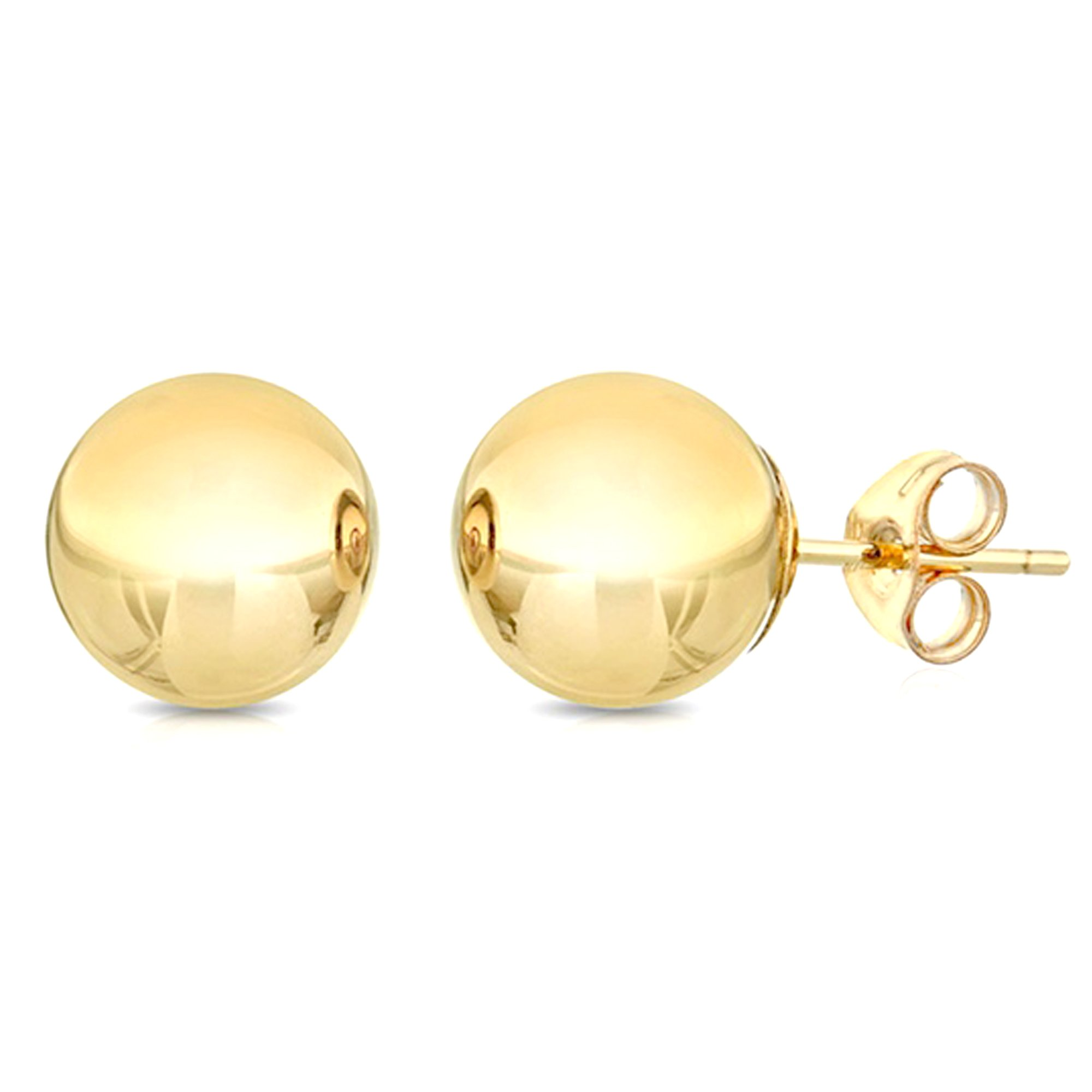 14K Yellow Gold Ball Stud Earrings, 10mm