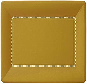 Ideal Home Range IHR Zing Rectangular Café Dessert Paper Plates, 9 x 5.5-Inches, Gold