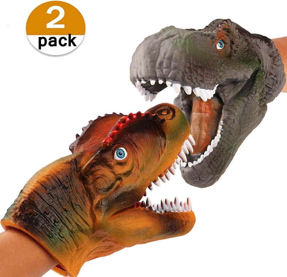 vamei 2 unids Dinosaurios Juguetes marioneta marioneta de Mano Parque Mundo Jurásico niños Jugar Juguete T-Rex Spinosaurus Mano Marionetas Guantes para niños Fiesta de Dinosaurios