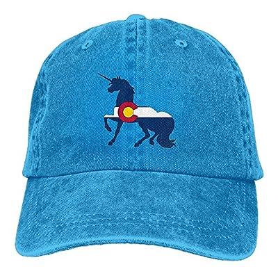 jia3261 Colorado Flag Unicorn Unisex Denim Baseball Cap Adjustable Strap Low Profile Plain Hats Outdoor Casquette Snapback Hats RoyalBlue from jia3261