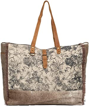 Myra Bag Green Floral Upcycled Canvas Weekender Bag S-1192