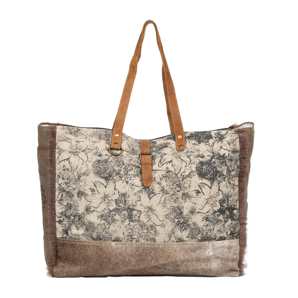 Myra Bag Floweret Upcycled Canvas Cowhide Leather Weekender Bag S-1274