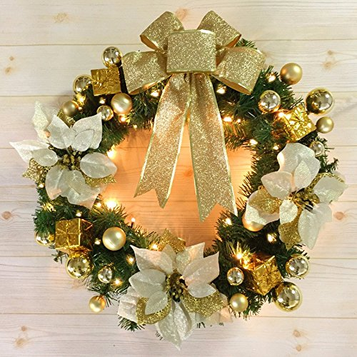 Christmas Garland for Stairs fireplaces Christmas Garland Decoration Xmas Festive Wreath Garland with Christmas Wreath Golden Christmas tree Christmas with lights,50cm