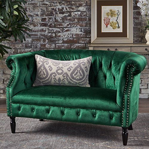 Great Deal Furniture 302213 Melaina Emerald Tufted Rolled Arm Velvet Chesterfield Loveseat Couch ()