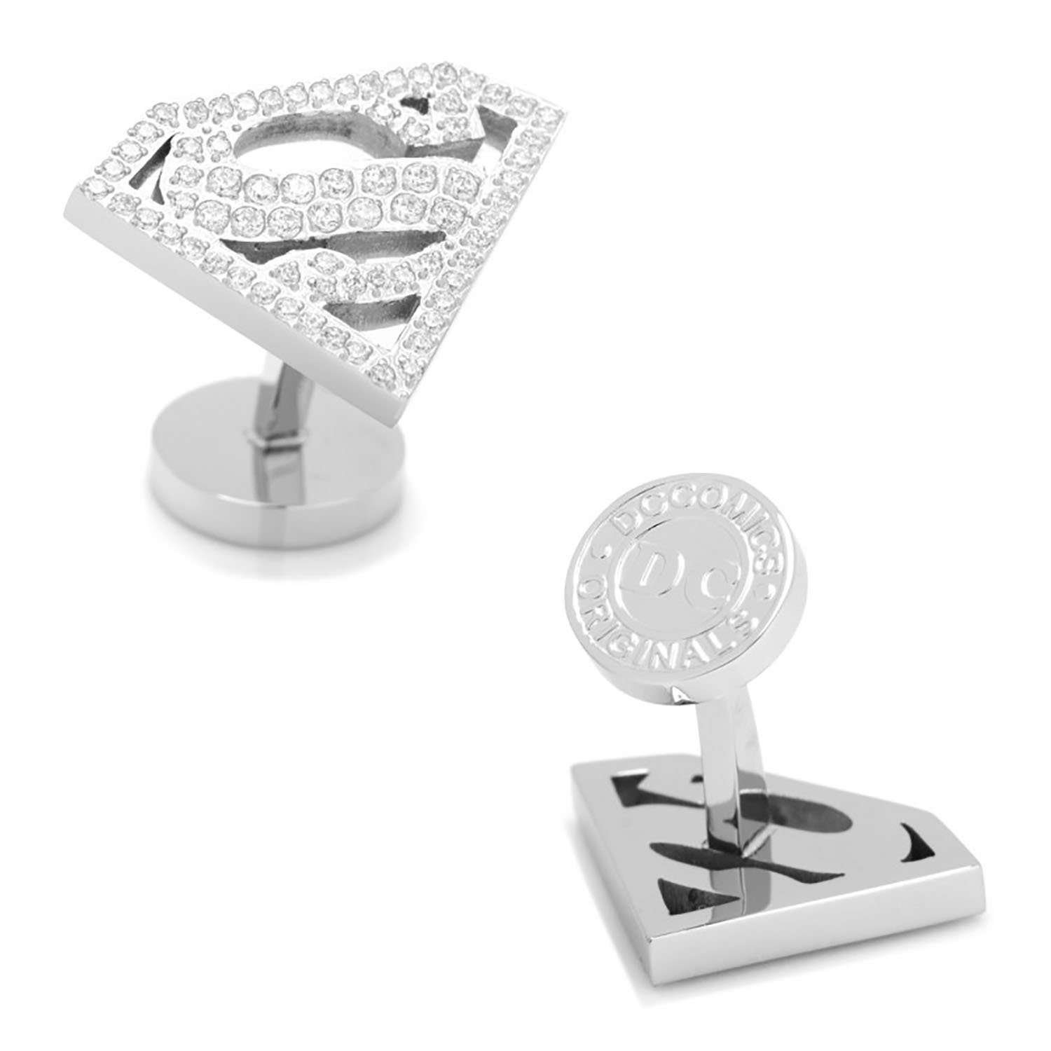 White Pave Crystal Superman Cufflinks by DC Comics Cufflinks