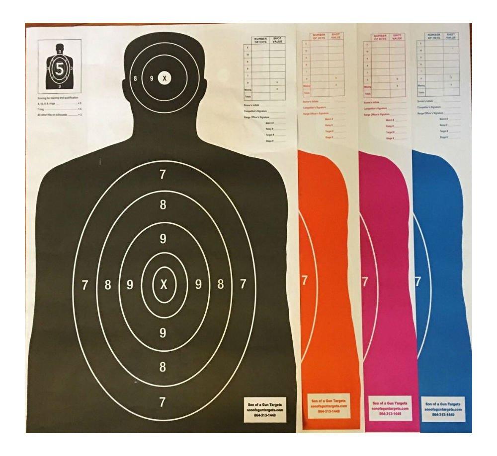 Paper Shooting Targets Silhouette Gun Pistol Rifle B-27E Qty 100 23x35
