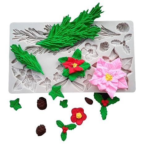 WYD 3d Navidad flores Hojas de silicona moldes cake moldes decoración hornear herramienta DIY hecho a