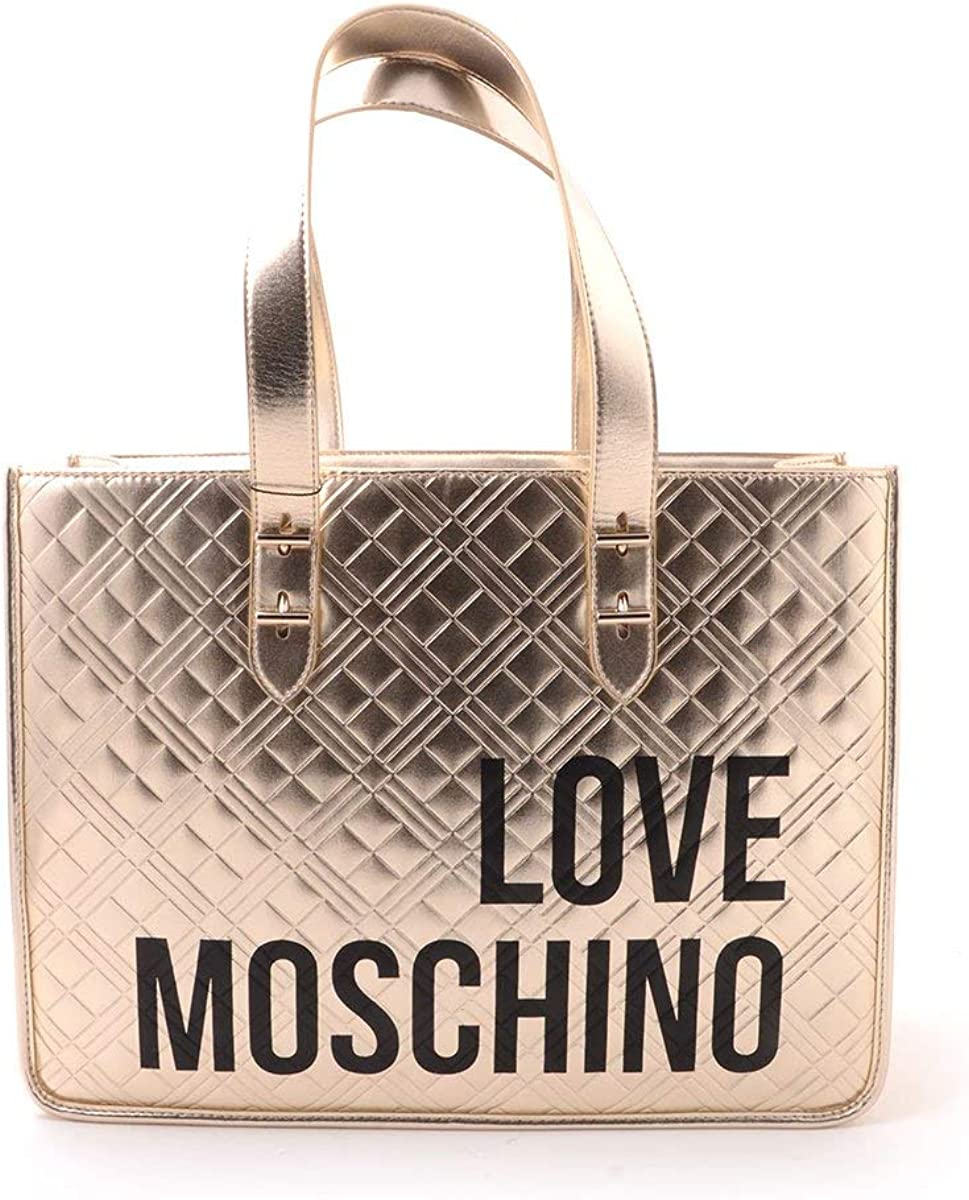 Shoulder handles in platinum gold quilted leather with black logo writing Love Moschino womens travel bag