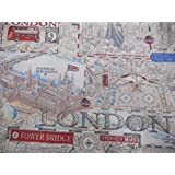 London Town Map | Fabric by Chatham-Glyn | By the Metre (1 Meter) by Chatham - Glyn