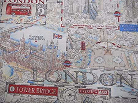 London Town Map.London Town Map Fabric By Chatham Glyn By The Metre 1 Meter