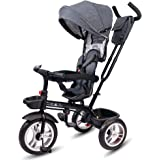 Little Olive Roller Coaster - Stylish Baby Tricycle / Kids Trike / Bicycle / Ride On with Canopy and Push Bar for Kids / Baby | Suitable for Boys & Girls - (1 to 6 Years) (Grey)