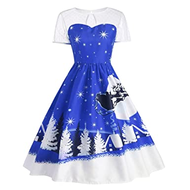 d9e8fdf76055 DressLily Women's Santa Claus Christmas Deer Print Costume Swing Vintage  Dress, Blue, ...