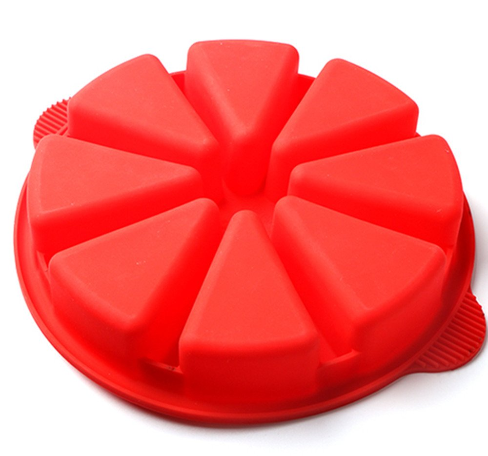 Baking Molds Triangle Cavity Silicone 8 Red Silicone Portion Cake Mold Soap Mould Pizza Slices Pan by SHEbaking (Image #8)