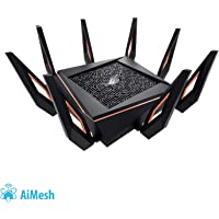Asus GT-AX11000 ROG Rapture Gaming Router (AiMesh, WiFi 6 AX11000, Game First V, VPN Fusion, 1x 2.5G LAN, 4x Gigabit LAN Link Aggregation, 1.8 GHz Quad-Core CPU, AiProtection, Multifunktion USB 3.0)