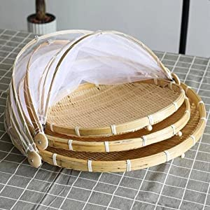 Sdhuamen Bamboo Tent Basket, Household Foldable Food Mesh Cover, Hand-Woven Container Tray Anti Bug Food Serving Tent Basket, for Family Outdoor Camping (A-3 PCS Mixed)