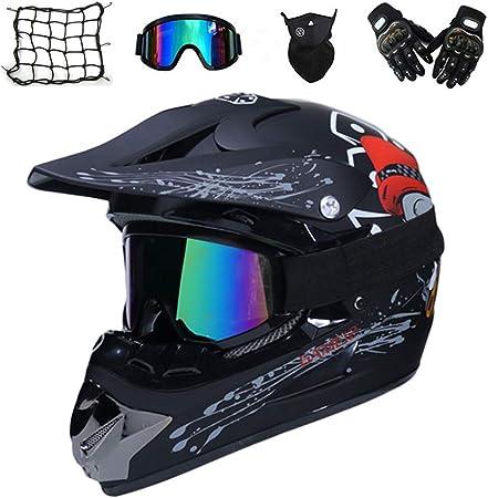 AMITD Casco Motocross Integrale Uomo L Occhiali//Guanti//Passamontagna Nero Adulto Casco Moto Cross Enduro MTB Offroad Downhill Sport