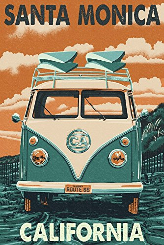 (Santa Monica, California - Route 66 - Camper Van (16x24 SIGNED Print Master Giclee Print w/Certificate of Authenticity - Wall Decor Travel)