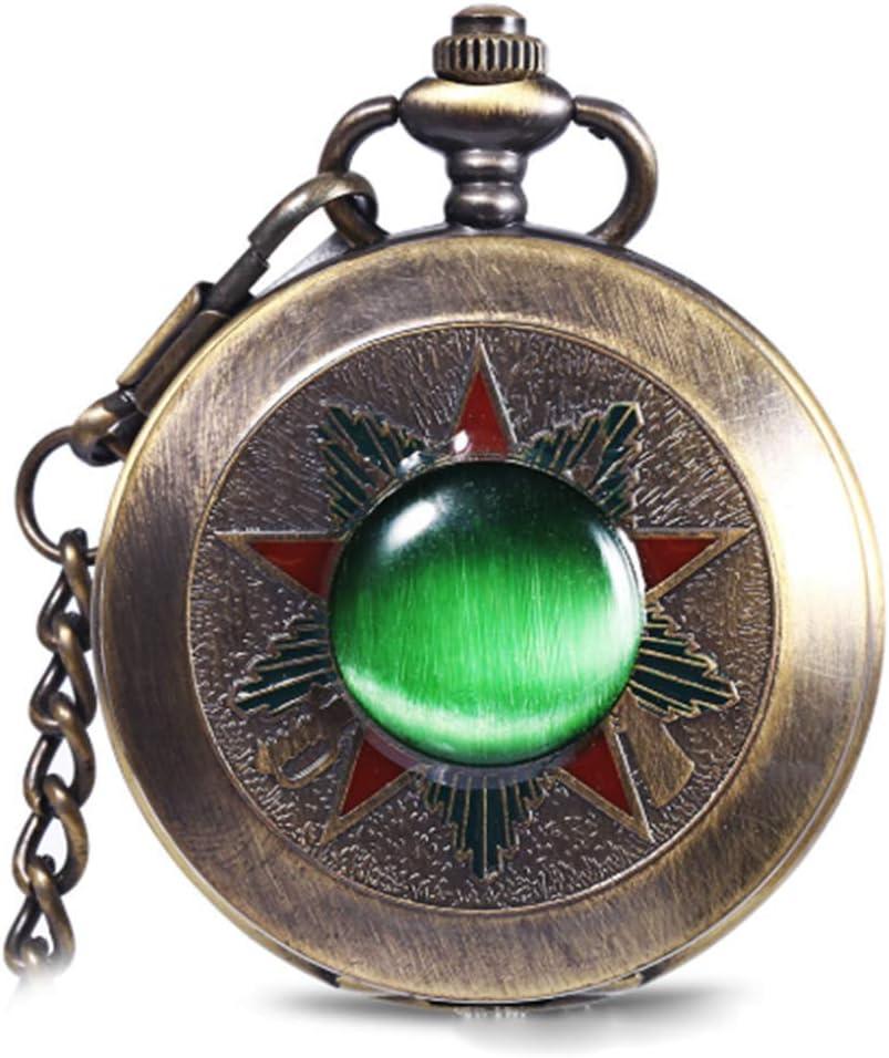 GWLDV Reloj de Bolsillo Reloj de Bolsillo Antiguo de Cuarzo Esmeralda Colgante de Bronce Vintage Collar de 80 cm Reloj de pulser