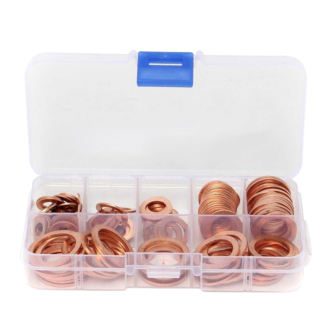SODIAL(R) 120Pcs 8 Sizes Assorted Solid Copper Crush Washers Seal Flat Ring Set With Box