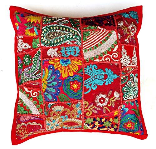 (Rastogi Handicrafts Handmade Patchwork Cushion Pillow, Sari Patch Throw Pillow Indian Ethnic Pillow Covers Embroidered Sari Patchwork Cushion Cover (RED))