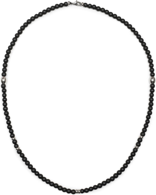 styleBREAKER Collar con Perlas de Vidrio Negras, Piedras de bisutería de Metal y Cierre de mosquetón, Cadena de Bolas, bisutería, Unisex 05030049