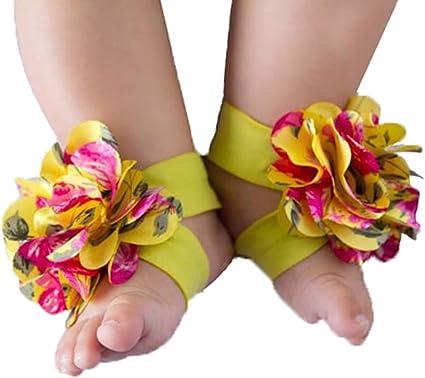 1Pair Baby Infant Barefoot Toddler Foot Flower Band Kids Girl Cool Sandals Socks