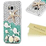 S8 Plus Case,Samsung Galaxy S8 Plus Case 3D Handmade Bling Colorful Diamonds White Dolphins Shells Starfish Shiny Rhinestone Gems Crystal Clear Full Body Protection Hard PC Case Cover by Mavis's Diary