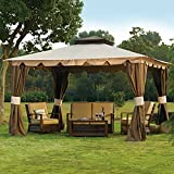 Sunjoy L-GZ215PST-5B 10 x 12 Hampton Gazebo with Mosquito Netting & Privacy Panels
