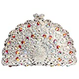 Digabi Peacock Women Crystal Evening Clutch Bags (One Size : 6.54.43 IN, style G crystal - silver plated)