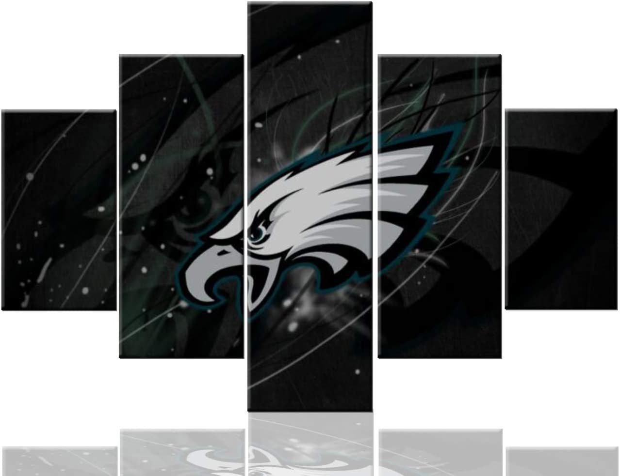 Sports Wall Decor Philadelphia Eagles Paintings Football Super Bowl Pictures NFL Artwork 5 Pcs/Multi Panel Canvas Home Decor for Living Room Giclee Framed Ready to Hang Posters and Prints(60''Wx40''H)