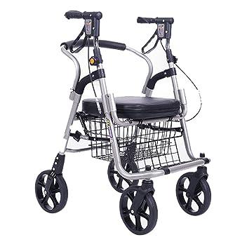 Stainless Steel Silver Foldable 4 Wheel Trolley Lightweight Rollator ...