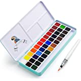 MeiLiang Watercolor Paint Set, 36 Vivid Colors in Pocket Box with Metal Ring and Watercolor Brush, Perfect for Students, Kids
