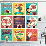 Ambesonne Circus Shower Curtain, Composition of Old Circus Carnival Magicians Old Fashioned Nostalgic, Cloth Fabric Bathroom Decor Set with Hooks, 84' Extra Long, Green Yellow
