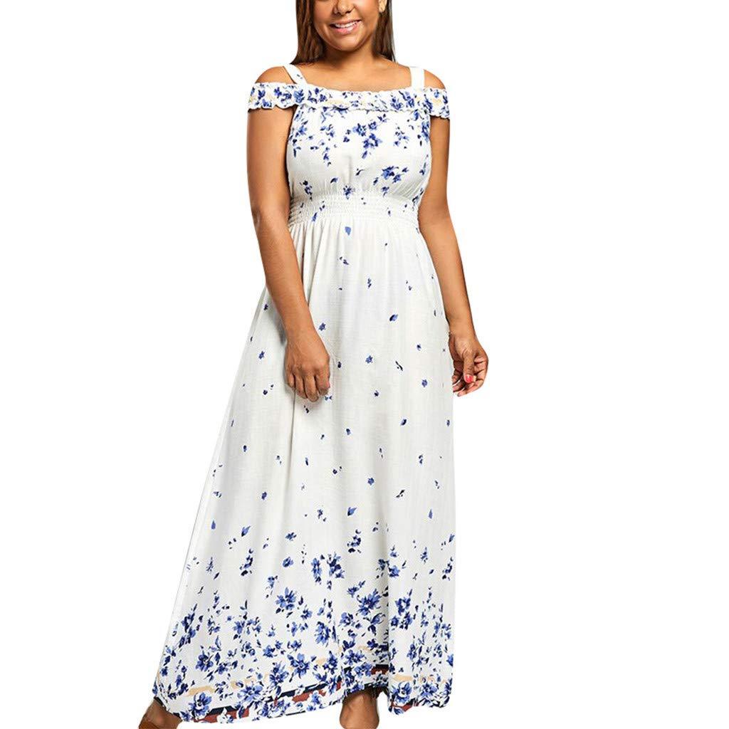 Mikilon Women's Strap Plus Size Maxi Dress Floral Print Elstic Waist Off Shoulder Long Party Beach Dress White