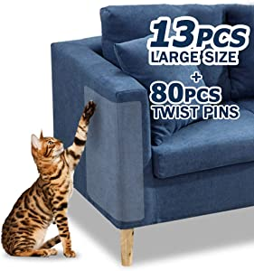 Pet Couch Protector, 13PACK Clear Pet Cat Dog Claw Guards Self-Adhesive Pads, Discreet Cat Scratch Furniture Protector Pad Deterrent,Cover to Protect The Upholstery, Door, Walls,Mattress,Car Seat