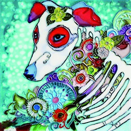 Dia de Los Muertos - Day of The Dead Dog - Decorative Ceramic Art Tile - 8