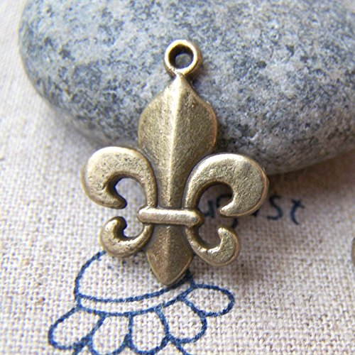 12 pcs of Antique Bronze Lovely Fleur de Lis Flower of Lily Charms 17x18mm (CB168) (De Lis Charm Large Fleur)