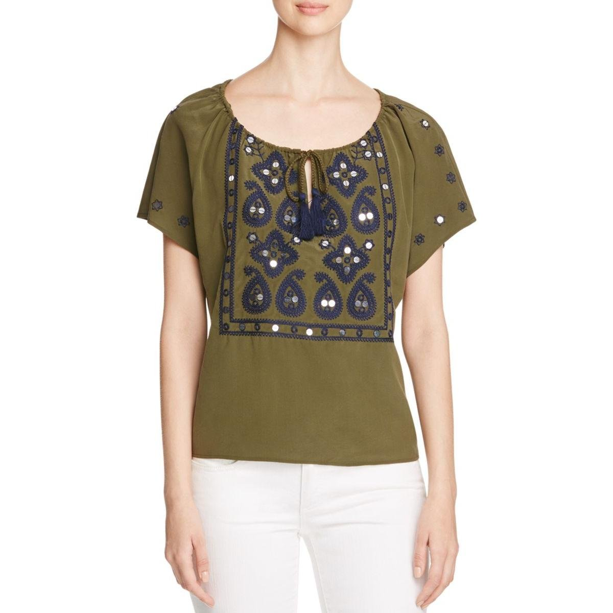 Tory Burch Womens Camille Top Embroidered Sequined Peasant Top Green 0