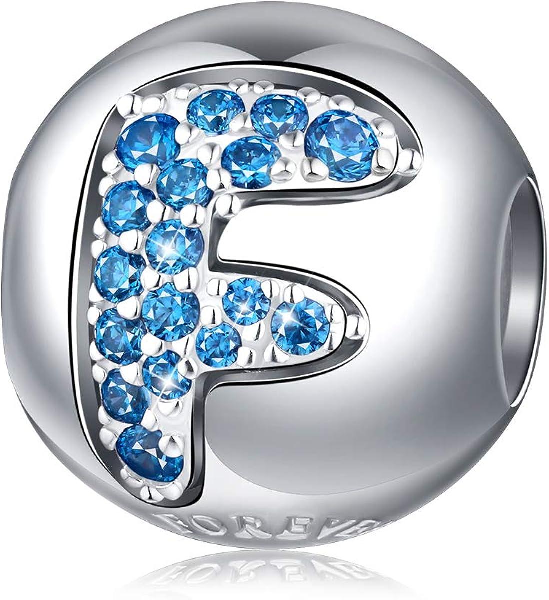 Forever Queen Breloque lettre de lalphabet en argent sterling 925 avec zircone cubique transparent compatible avec bracelets europ/éens pour femme Coffret cadeau