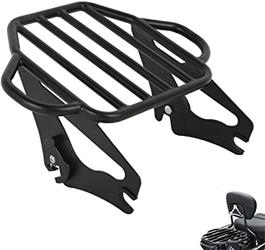 Detachable Two Up Tour Pak Pack Mounting Luggage Rack Fit Harley Touring Electra Glide Road King Street Glide Road Glide 2014-2020 Black