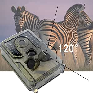 zuoshini Trail Camera Trail Game Camera Waterproof 12MP 1080P Game Hunting Scouting Cam 3 Infrared Sensors 120°Detecting Range Motion Activated Night Vision 15m (49ft)