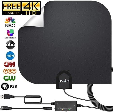 ZUZU Antena HDTV, Antena de TV Digital para Interiores Antena HD VHF UHF Gratuita y Todas Las Antenas Digitales de TV más Antiguas con Amplificador de señal de Amplificador, 17 pies: Amazon.es: