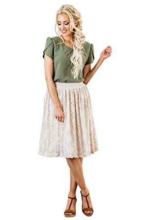 858daf6a1f4 Mikarose Textured Mesh Modest Skirt in Cream at Amazon Women s ...