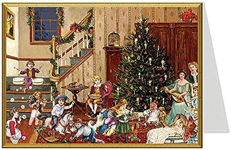 Immagini Natale Vittoriano.Biglietto Di Natale Soggiorno Stile Vittoriano Formato B6 Amazon
