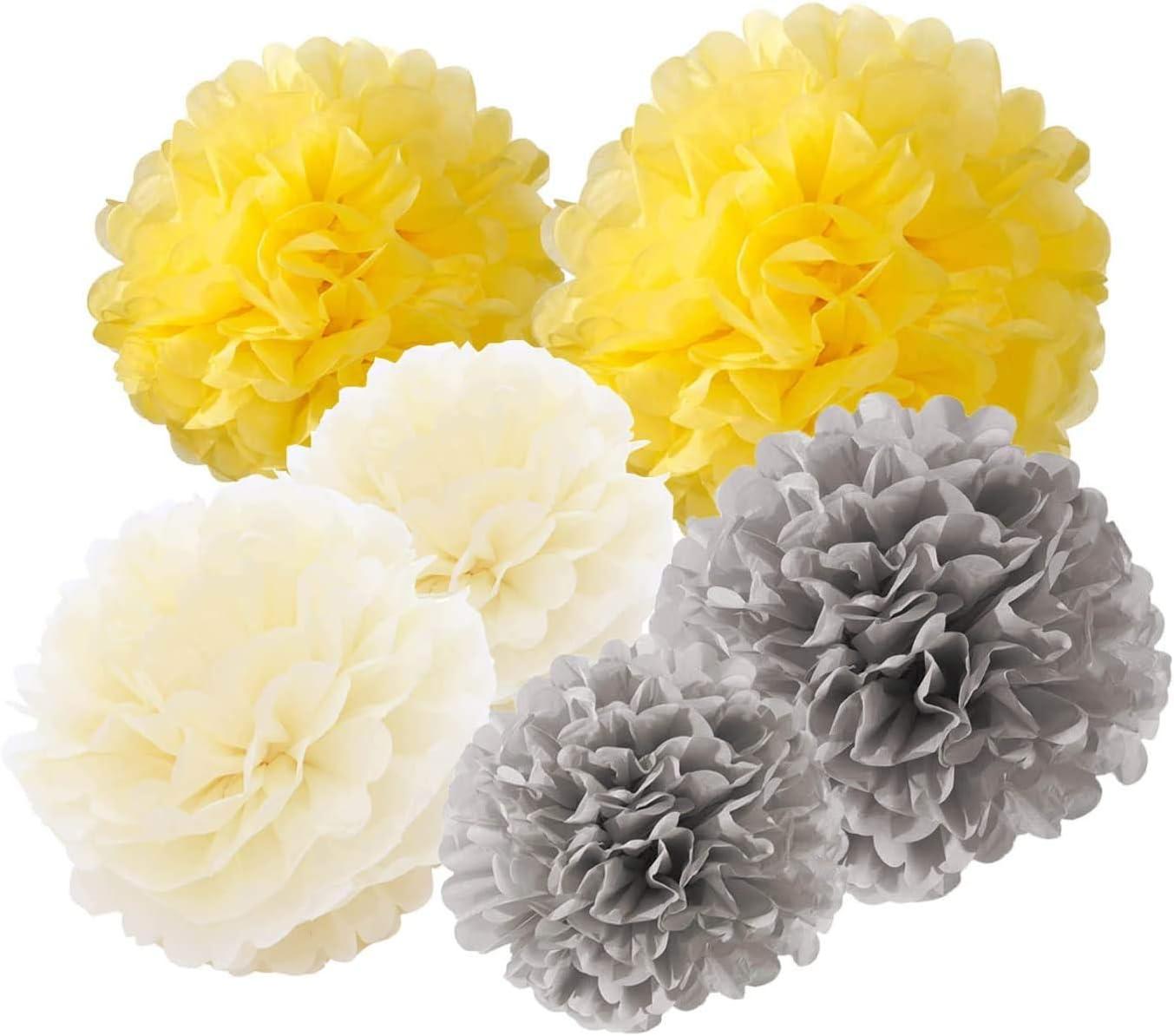 25 cm giallo 12 pompon di carta velina grigio crema CUTADORNS 35 cm decorazione per esterni